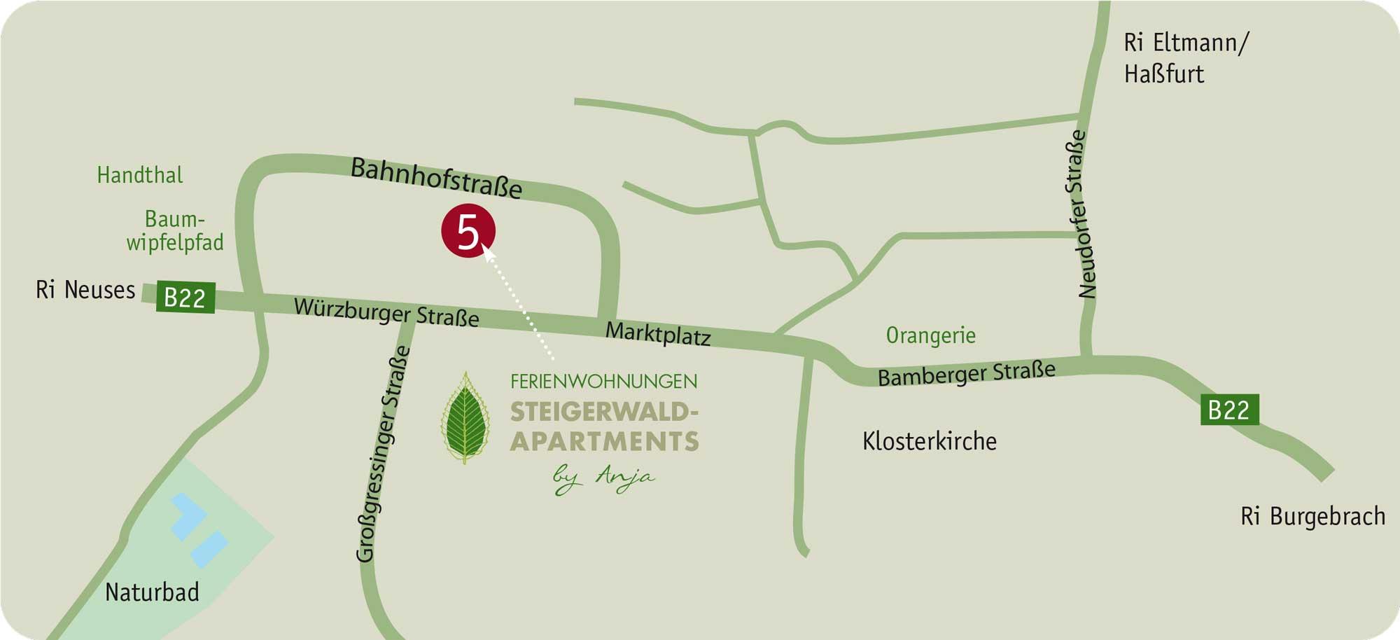 So finden Sie uns – Lageplan! Steigerwald Apartmens, Ferienwohnungen im Herzen Frankens.