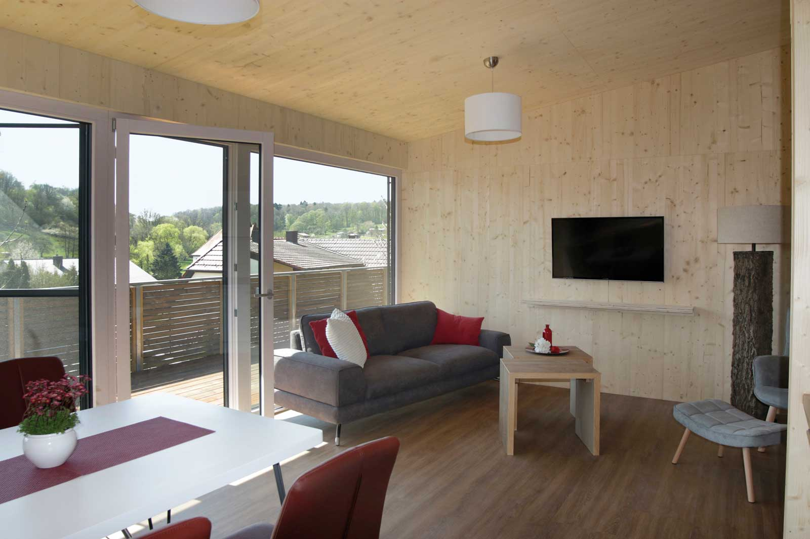 Der gemütliche Wohnbereich in den Steigerwald Apartmens – Ferienwohnungen im Herzen Frankens.