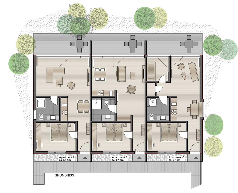 Grundriss der Steigerwald Apartments – Ihre Ferienwohnungen!